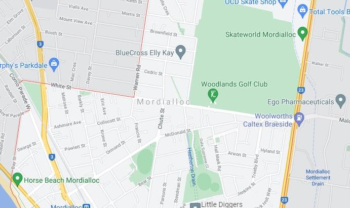 Mordialloc Map Area